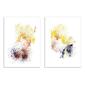 2 Art-Posters 30 x 40 cm - SonGoku Vegeta - Arian Noveir