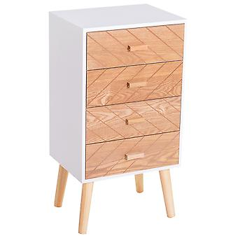 HOMCOM Nordic Style 4 Drawers Bedside Cabinet Wooden Table Storage Chest Organiser Night Stand Scandinavian Home Furniture