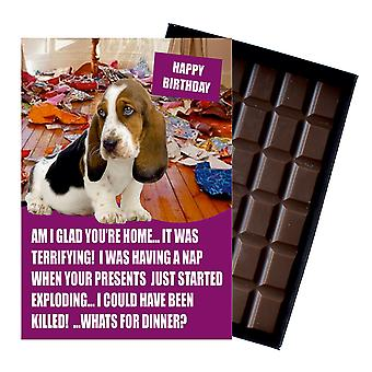 Bassett Hound Funny Birthday Gifts For Dog Lover Boxed Chocolate Greeting Card Present