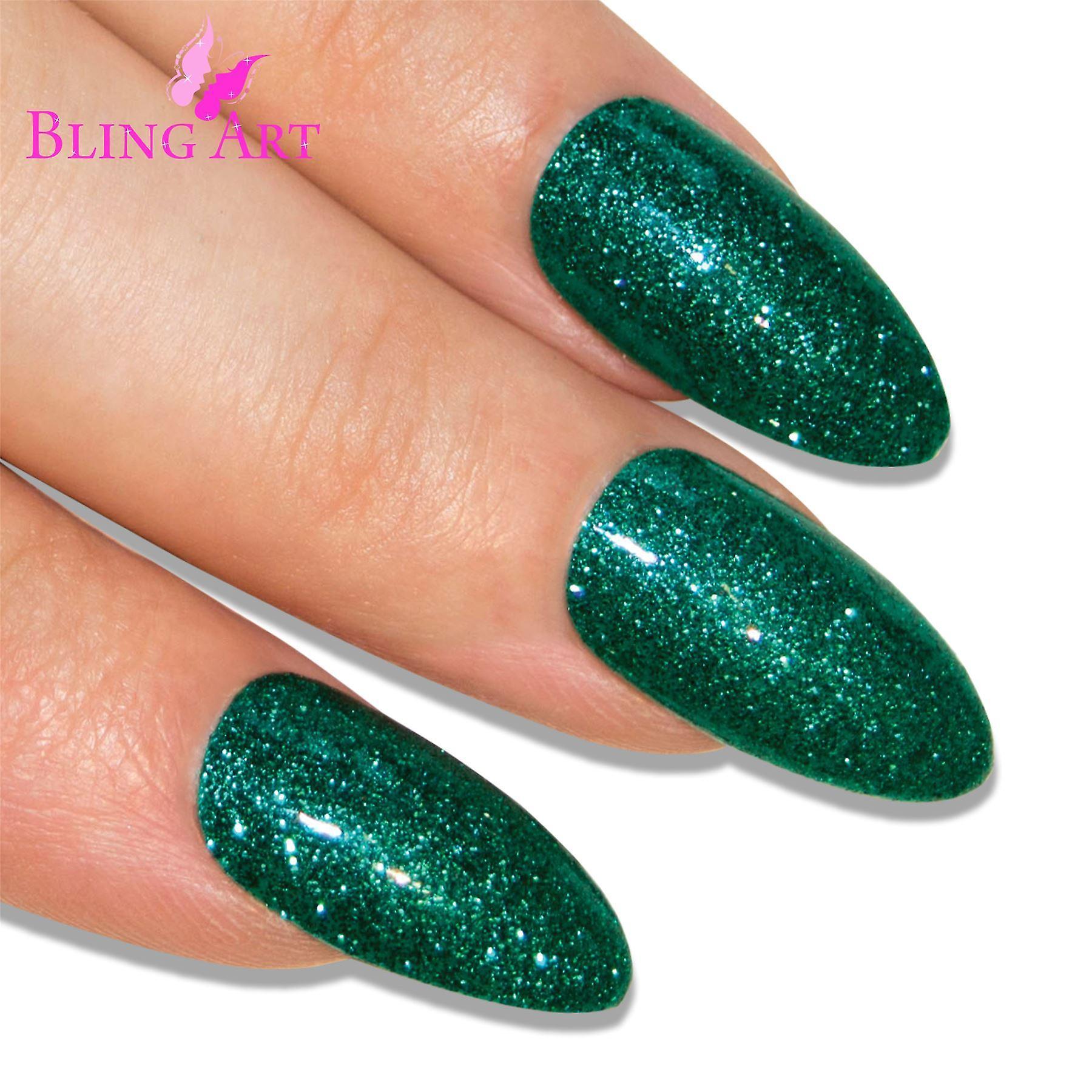 False nails bling art green gel almond stiletto long fake acrylic tips with glue