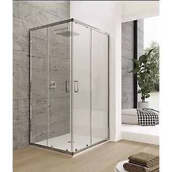 Boîte de douche en cristal transparente bon marché 6mm double porte coulissante