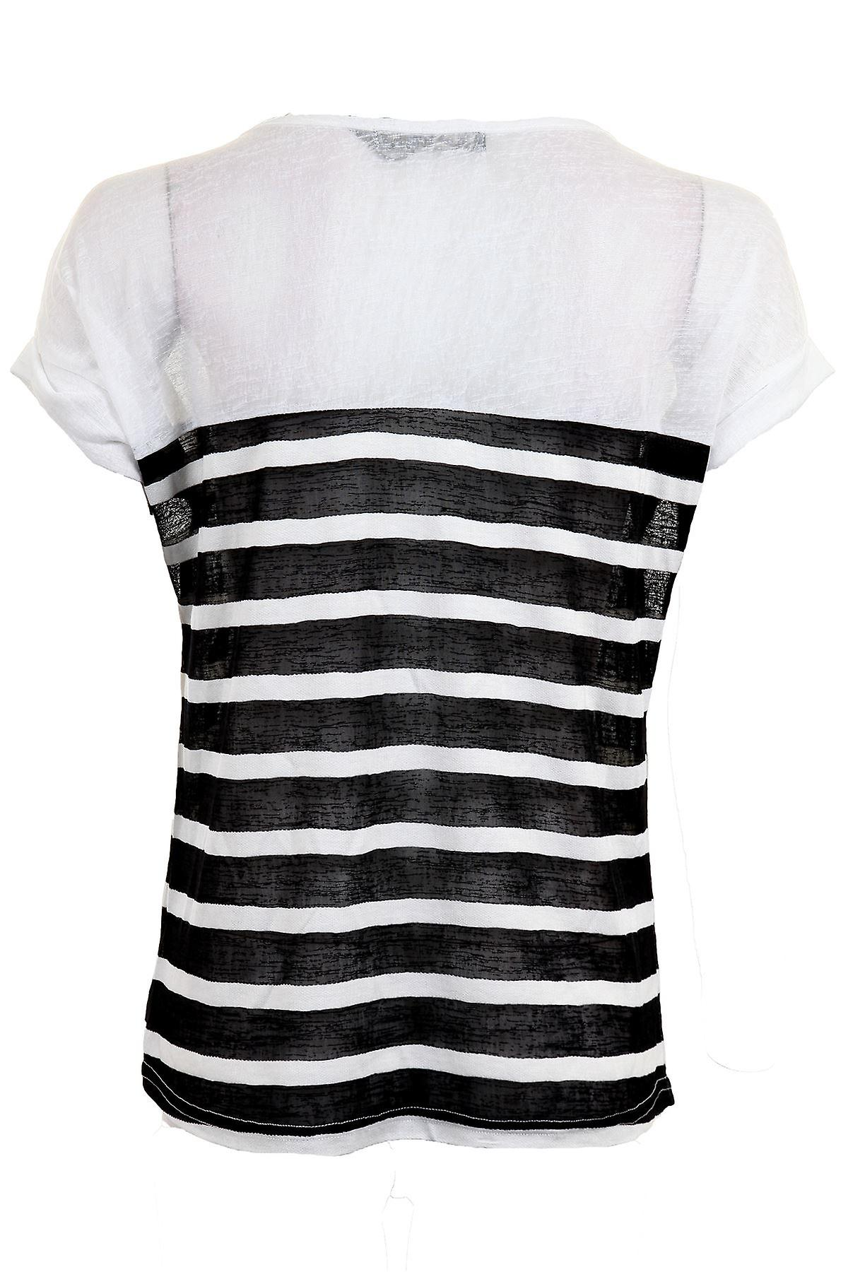 Ladies Mesh Striped Short Turn Up Sleeve Baggy Oversized Women's Smart Top