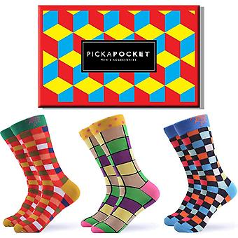 Men's geometric block gift box 3 pairs of socks