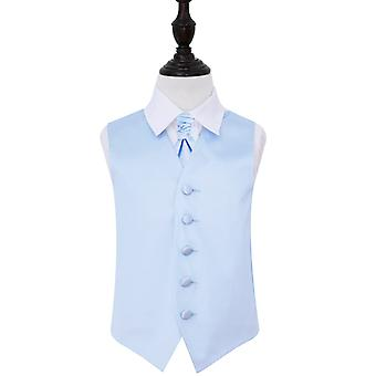 Boy's Baby Blue Plain Satin Wedding Waistcoat & Cravat Set