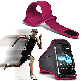 ( Pink ) Yezz Andy 5.5M LTE VR case High Quality Fitted Sports Armbands Cover By i-Tronixs