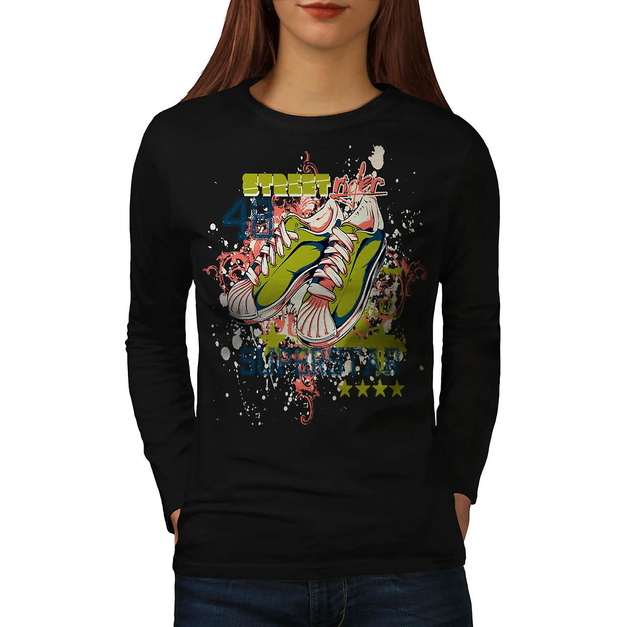 Street Rider Super Star Shoes Women Black Long Sleeve T-shirt | Wellcoda
