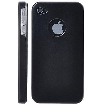 Aluminium metall lock med sammet inredning-iPhone 4/4S (svart)