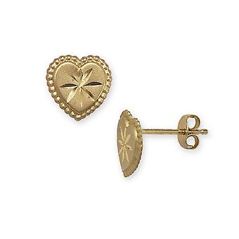 14k Yellow Gold Heart Stamping Children Earrings - Measures 8x8mm