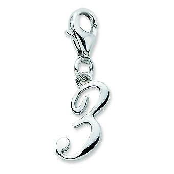 Sterling Silver Number 3 With Lobster Clasp Charm - .9 Grams - Measures 24x6mm