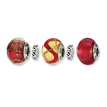 Sterling Silver Gift Boxed Antique finish Italian Murano Glass Reflections Red Hot Boxed Bead Charm Set