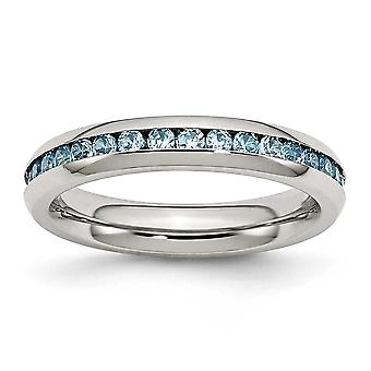 Stainless Steel Polished 4mm December Teal Cubic Zirconia Ring - Ring Size: 6 to 9