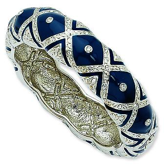 Silver-tone Crystal Blue Enameled Bangle Bracelet - 8 Inch