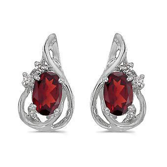 14k White Gold Oval Garnet And Diamond Teardrop Earrings