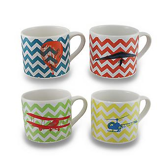 Impostare / 4 voli di fantasia colorata Chevron Striped 20 oz Mug in ceramica