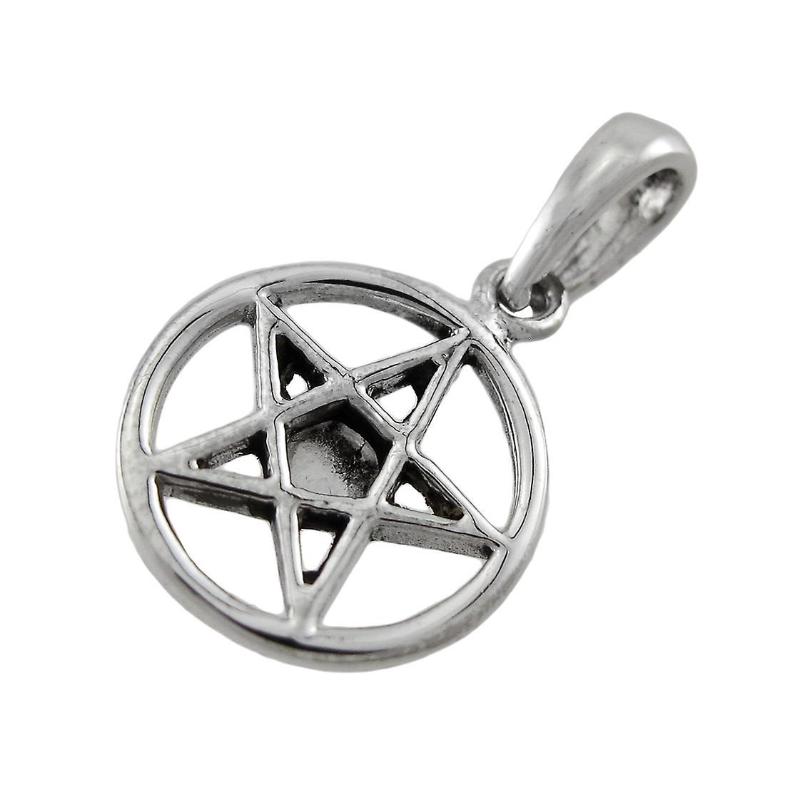 Sterling Silver Pentacle Charm / Pendant with White Stone