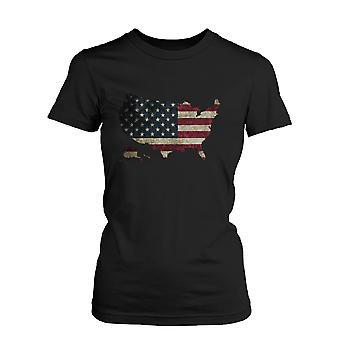 Womens' US Flag USA Map Graphic Black T-Shirt
