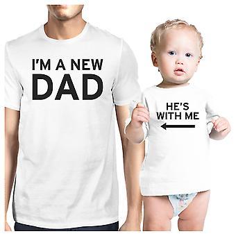 Ich bin ein neuer Vater weiß Papa und Baby-Shirt einzigartige Geschenke für neue Dad
