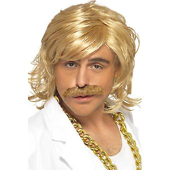 Game show redneck costume set wig and beard blond 80s Pimp