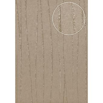 Fine stripe wallpaper Atlas COL-568-0 non-woven wallpaper smooth design shimmering grey stone grey Silver 5.33 m2
