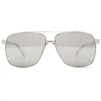 Versace Square Aviator Sunglasses In Silver Mirror