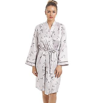 Camille Silver Humming Bird And Butterfly Print Satin Wrap