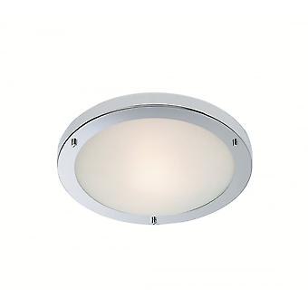 Firstlight Modern Chrome Opal Glass Flush Ceiling Light