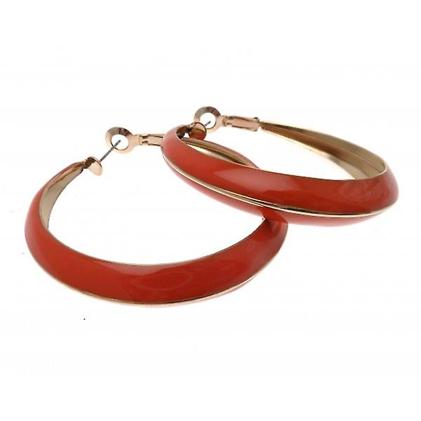 W.A.T Gold Style Orange Enameled Hoop Pierced Fashion Earrings