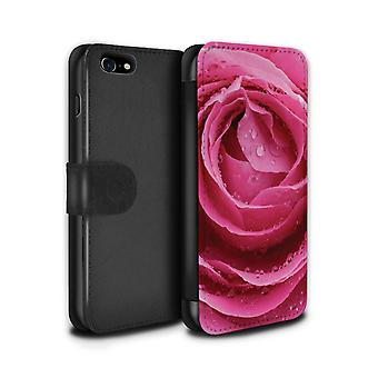 STUFF4 PU lederen portemonnee Flip Case/Cover voor de Apple iPhone 7 / Pink Rose Design / Engelse tuinen collectie