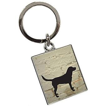 Tyler and Tyler White Brick Labrador Key Ring - Cream/Black/Silver