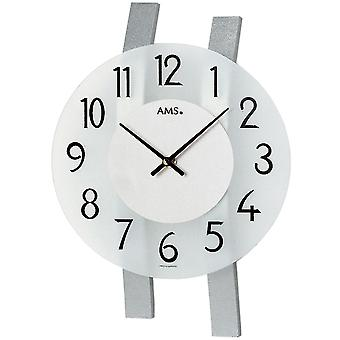 fashionable wall clock quartz curved wooden bars silver painted mineral glass