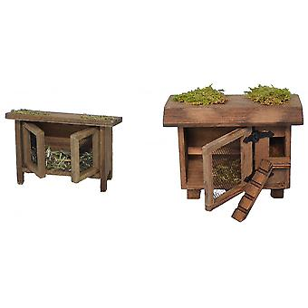 Rabbit Hutch and chickens-stall wood handmade accessories for Nativity scene Christmas Nativity stable