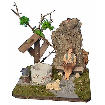 Nativities landscape with fountain, bench and Shepherd Nativity accessories for Nativity