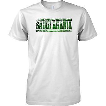 Saudi Arabien Grunge Land Name Flag Effect - Kinder T Shirt