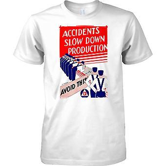 WW2 World War Propaganda Poster - Accidents Slow Down - Mens T Shirt