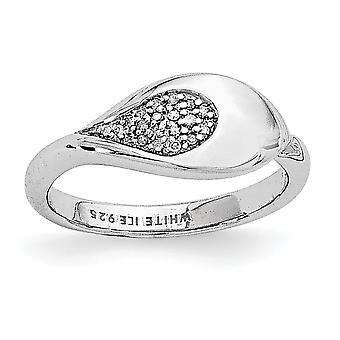 Argent sterling poli Gift Boxed glace blanc rhodié. 07 c. Diamond Ring - anneau taille : 6 à 8