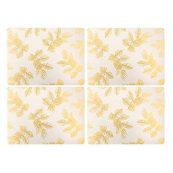Sara Miller Etched Leaves Light Grey Placemats, Set of 4