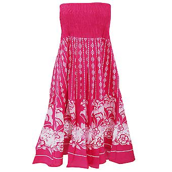 Womens/Ladies Dotty Floral 2 In 1 Cotton Dress