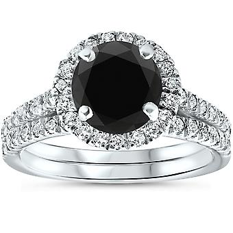 2 1/2 Ct Treated Black Diamond Halo Engagement Wedding Ring Set 14K White Gold