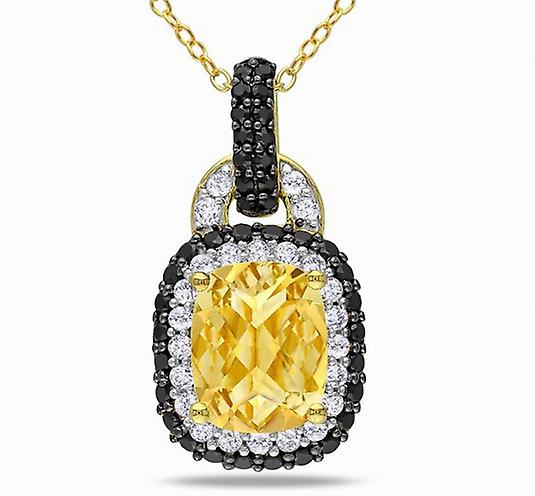 Affici Sterling Silver Pendant with Chain 18ct Yellow Gold Plated ~ Citrine CZ Gem