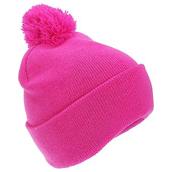 FLOSO Childrens/Kids Knitted Hi Vis Winter Bobble Hat
