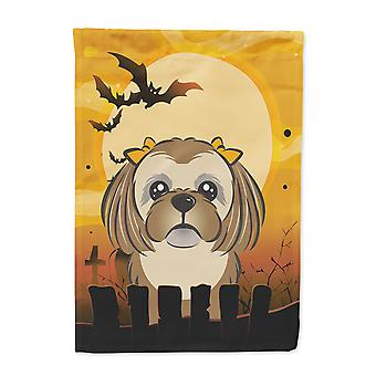 Halloween-Schokolade braun Shih Tzu Flagge Leinwandgröße Haus