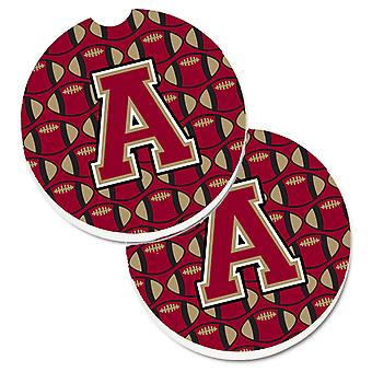 Letter A Football Garnet and Gold Set of 2 Cup Holder Car Coasters