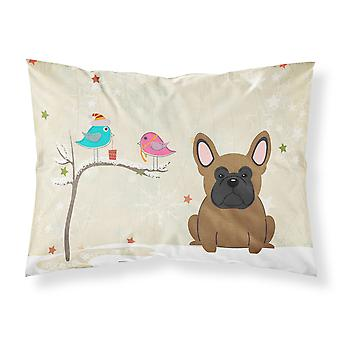 Christmas Presents between Friends French Bulldog Brown Fabric Standard Pillowca