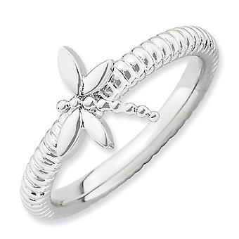Sterling zilveren stapelbare expressies Dragonfly Ring - Ringmaat: 5 tot 10