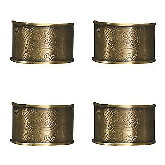 Paisley Scrollwork Kitchen Dining Room Table Napkin Rings Set of 4