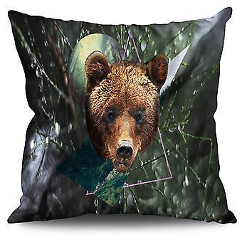 Bear Beast Moon Animal Linen Cushion Bear Beast Moon Animal | Wellcoda