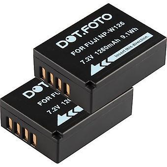 2 x Dot.Foto Fujifilm NP-W126 Replacement Battery - 7.2v / 1260mAh
