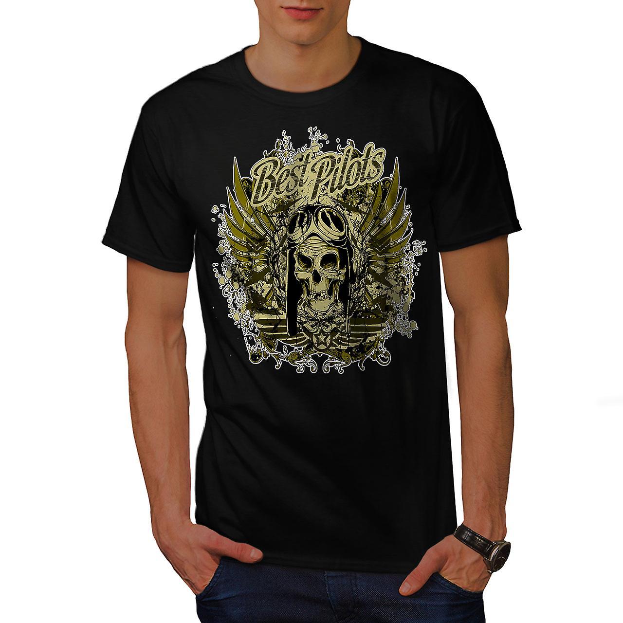 Best Pilot War Cool Skull Men Black T-shirt | Wellcoda