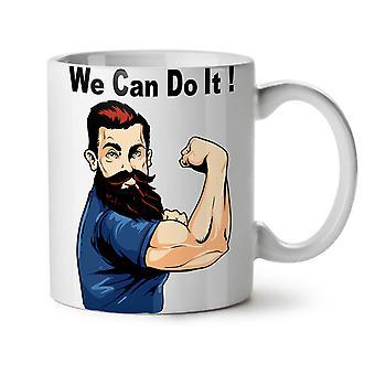 We Can Do It NEW White Tea Coffee Ceramic Mug 11 oz   Wellcoda