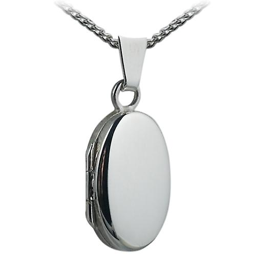 Silver 18x11mm plain oval Locket with a curb Chain 20 inches